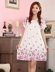 Women's Loose Rose Flower Print Sleepwear Nightdress AS019