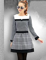 Women 's Korean Grid Splicing Dress