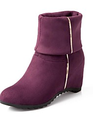 Women's Fall Winter Fashion Boots Suede Casual Wedge Heel Black Blue Brown Red