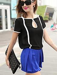 Tee-shirt Aux femmes,Couleur Pleine Sexy Printemps / Eté Manches Courtes Blanc / Noir Fin