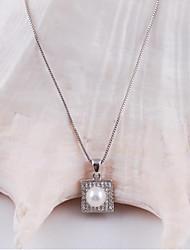 moda liga ródio ouro das mulheres banhado e colar de concha pérola