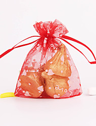 Red Translucent Wedding Style Favor Bags - Set of 12