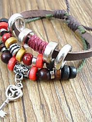 Men's Vintage Key Charm Wrap Bracelet