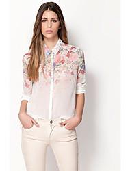 Abigail A Orientação Gradiente Impresso Chiffon Camisa 7301 Flores