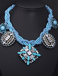Women's Luxury Crystal Large Stones Blue Beads Necklace