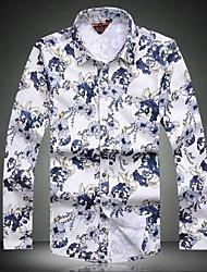 Men's Short Sleeve Shirt , Cotton/Silk Casual Print