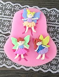 Three Girl with Wing Baking Fondant Cake Mold,L7.4cm*W6.7m*H1cm