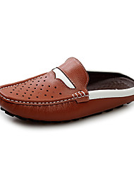 Zapatos de Hombre Casual Cuero Zuecos Negro/Marrón/Azul Marino