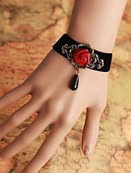 InOne Vintage Red Rose Black Pearl Bracelet