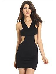 Women's V Neck Mini Dress , Cotton/Cotton Blends/Organic Cotton Black Sexy/Bodycon/Casual/Party