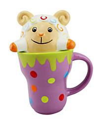 """Cerâmica 300ml dos desenhos animados Inovador Sheep Pattern Cup, 4,3 x7.1 """"x3.8"""" """")"""