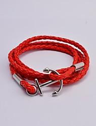 Fashion Mne's Titanium Steel Anchor Leather Wrap Bracelets Christmas Gifts