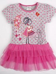 les enfants l'été mignonne petite fille impression paillettes maille coton court manches robe de fille impression aléatoire