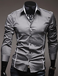 tizeland lapela pescoço cor contraste camisa de manga longa para homens