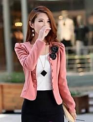cuello redondo de manga larga abrigo de corte elegante del invierno de algodón doble pechos de las mujeres