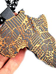 moda indivíduo hip hop mapa africano pingente de colar de pingente de madeira marrom (1 pc)