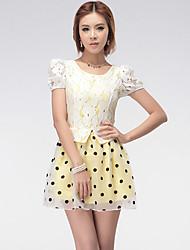 los lunares de la moda patrón de contraste vestido de organza cordón de las mujeres ffl amarilla