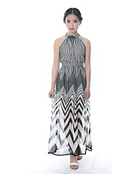 Women's Party Dress,Striped Maxi Sleeveless Multi-color Summer
