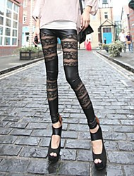Women's  Lace and Leather  Leggings
