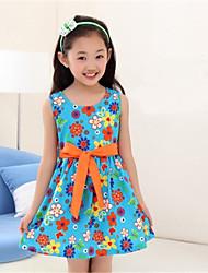 BB&B 2014 Girl's Summer New Cotton Floral Print Medium Princess Dress