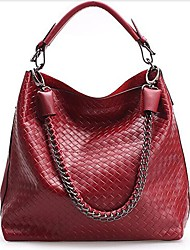 Women's Woven Pattern Genuine Leather Shoulder Bag Crossbody Bag Tote Shopping Bag