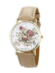 Women's Flower Pattern Golden Case PU Band Quartz Analog Wrist Watch (Beige)