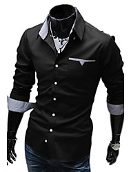 Duolunduo Men's Slim Inner Lining Check Patch  Long Sleeve Shirt(Black)