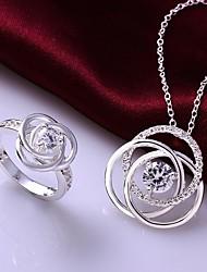 vintage holle bloem sieraden set (ketting + ring) (1 set)