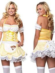 sexy girl cabelo dourado terylene amarelo traje hallewoon