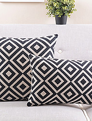 набор 2 черно-белый плед хлопка / льняной декоративной подушки крышки