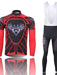 XINTOWN Men's Wolf Quick Dry Moisture Absorption Long Sleeve Bib Tights Cycling Suit—Black+Red
