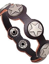 Men's Shining Star Rivet Leather Bracelet