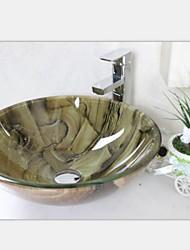 пейзаж дважды закаленного раковины стеклянный сосуд со смесителем набор