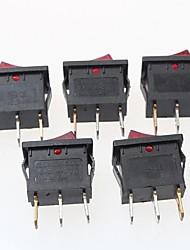 interruttore a 3 pin on / off - rosso + nero (6a, ca 250V / 10A, 125V ac) (5pcs)