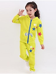 Girl's Fashion And Leisure Pentagram Printing Long Sleeves Sports Clothing Set