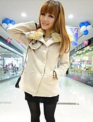 Women's Fashion Imitation Rabbit Fur Collar Double Breasted Wool Coat