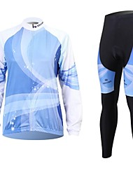XINTOWN Men's Blu-ray Quick Dry Moisture Absorption Long Sleeve Cycling Suit—Blue+White