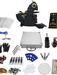 1 Gun Complete No Ink Tattoo Kit with Dark Steel Tatoo Machine and Hp-2 Power Supply