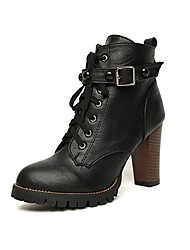Women's Shoes Bootie Chunky Heel Ankle Boots with Lace-up and Rivet