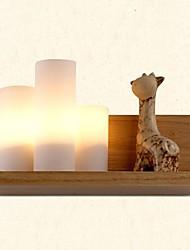 Oak Wall Lamp, Three Lights, Oak and Glass, 220~240V (JY999L)