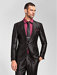 Suits Tailored Fit Slim Notch Single Breasted One-button Polyester 2 Pieces Black Straight Flapped None (Flat Front) None (Flat Front)