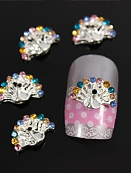 10pcs   Beauty Peacock Spread Tail Accessories DIY Alloy Rhinestone Nail Art Decoration