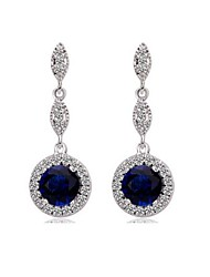 Brass Vermeil Plated With Cubic Zirconia Simple Temperament Circle Solitaire Earrings(More Colors)