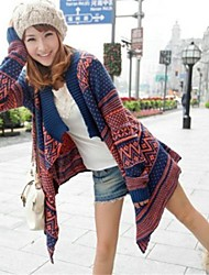 Women's Beige/Blue Cardigan , Casual Long Sleeve