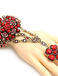 Women's Fashionable National Hollow Out Flower Style Bracelet With Ring(More Colors)