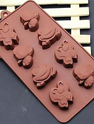 8 trou de moules à chocolat gâteau de forme abeilles de bande dessinée papillon de grenouille de glace gelée, silicone 21,5 × 16,1 × 2,5 (8,5 × 6,3 ×