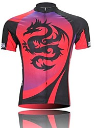 XINTOWN Men 's Red Dragon Breathable Polyester Short Sleeve Cycling Jersey -Black+Red