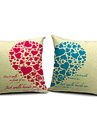 Set of 2 Modern Loving Heart Cotton/Linen Decorative Pillow Cover