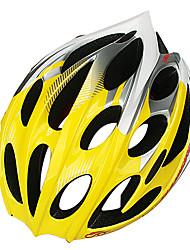 INBIKE unisex 25 respiraderos amarillas y blancas de pc + eps portátil moldeado integralmente-casco de bicicleta (58-60cm)
