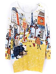 Sheinside® Women's Yellow Long Sleeve Paris Print Sweater Dress